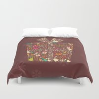 gift card Duvet Covers featuring Christmas Gift 01 by BlueLela