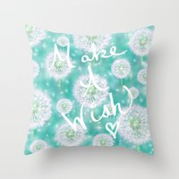coconut wishes Throw Pillows featuring Wishes by Lisa Argyropoulos