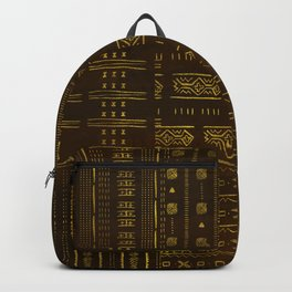 Gold African Tribal Pattern on rich brown texture Backpack