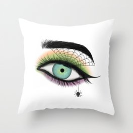 Female Eye With A Spider Web Throw Pillow