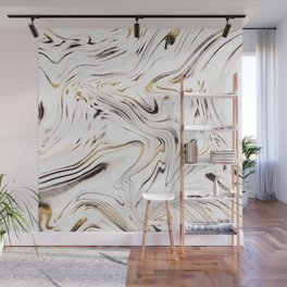 Liquid Gold Silver Black Marble #1 #decor #art #society6 Wall Mural