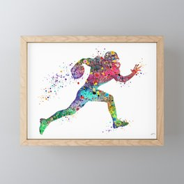 Football Player Sports Art Print Watercolor Print American Football Framed Mini Art Print