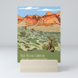 Vintage Poster - Red Rock Canyon National Conservation Area, Nevada (2015) Mini Art Print