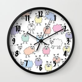 Colorful Counting Sheep Bedtime Pattern Wall Clock