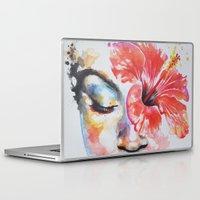hibiscus Laptop & iPad Skins featuring Hibiscus by Maria Lozano - Art
