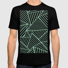 Abstract Lines Close Up Mint Black Mens Fitted Tee MEDIUM