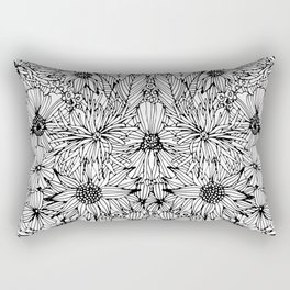 black and white flowers Rectangular Pillow