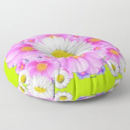 Chartreuse Green Color Shasta Daisies & Rose Pattern Floor Pillow