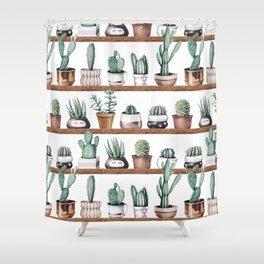 Cactus Shelf Rose Gold Green Shower Curtain