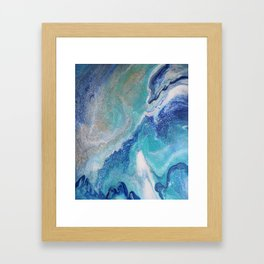 Dancing Tides: Acrylic Pour Painting Framed Art Print