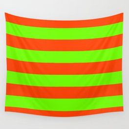 Bright Neon Green and Orange Horizontal Cabana Tent Stripes Wall Tapestry