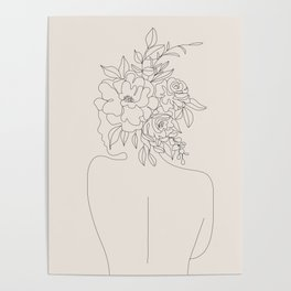 Woman with Flowers Minimal Line I Poster