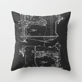 Sewing Machine 1916 Patent Print Throw Pillow
