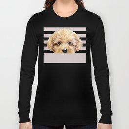 Toy poodle Dog illustration original painting print Long Sleeve T-shirt