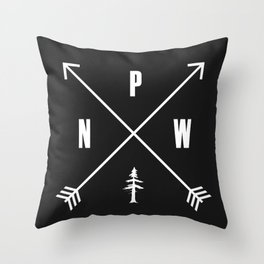 PNW Pacific Northwest Compass - White on Black Minimal Throw Pillow