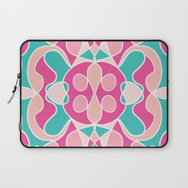 Girly Modern Pink Coral Teal Abstract Geometric Laptop Sleeve