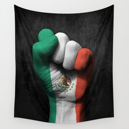 Mexican Flag on a Raised Clenched Fist Wall Tapestry