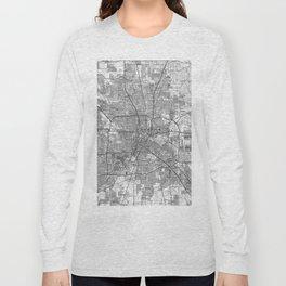 Houston Texas Map (1992) BW Long Sleeve T-shirt