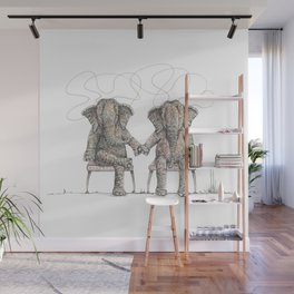 Loving Elephants Sitting Wall Mural