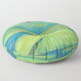 Watercolor Lily Pads Floor Pillow