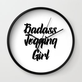 badass jogging girl Wall Clock