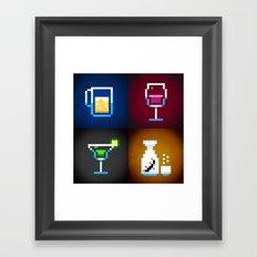 Pixel Drinks Framed Art Print