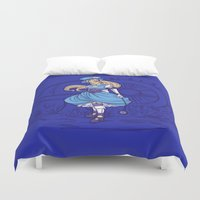 steampunk Duvet Covers featuring Steampunk Alice by Karen Hallion Illustrations