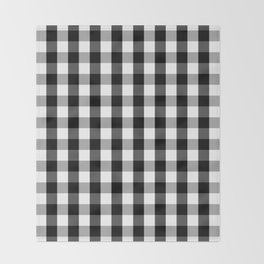 Large Black White Gingham Checked Square Pattern Throw Blanket