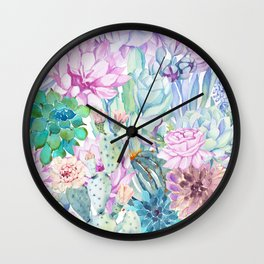 pastel votanical garden Wall Clock