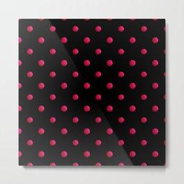 Retro . The polka dot pattern. Red polka dots on a black background . Metal Print