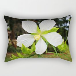 White Swamp Hibiscus Rectangular Pillow