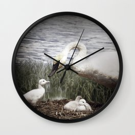 Tom Feiler Swan and her Cygnets Wall Clock