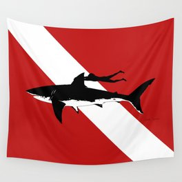 great white shark dive Wall Tapestry