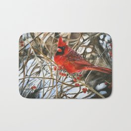 Winter Cardinal by Teresa Thompson Bath Mat