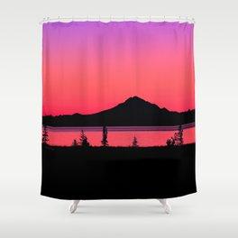 Pink Sunset Silhouette - Mt. Redoubt, Alaska Shower Curtain
