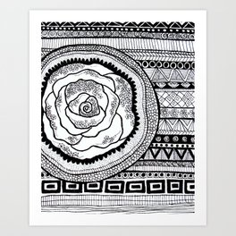 Mandala Rose Pattern Art Print