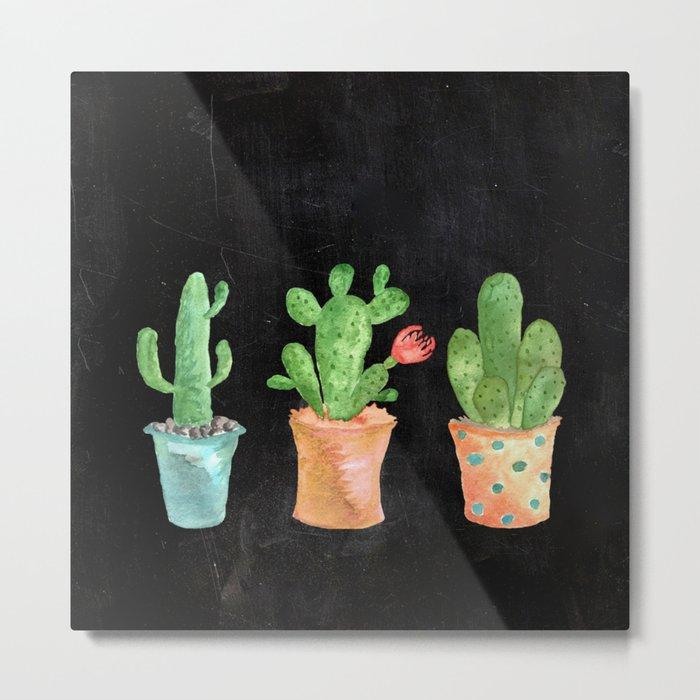 Three Green Cacti On Chalkboard Metal Print