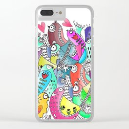 Happy birds doodle Clear iPhone Case