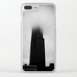 Sears Tower in Fog Chicago Black and White Photo Clear iPhone Case
