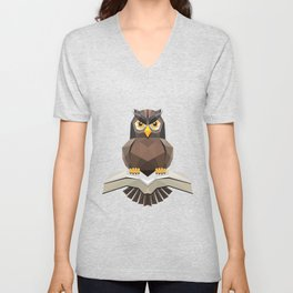 Vector, Brown Owl fly with the book Unisex V-Neck