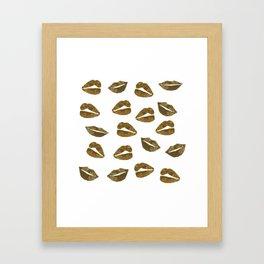 Golden Lips Framed Art Print