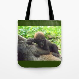 Baby Gorilla Riding Mother's Back Tote Bag