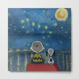 Snoopy starry night Metal Print
