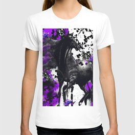 HORSE BLACK AND PURPLE THUNDER INK SPLASH T-shirt