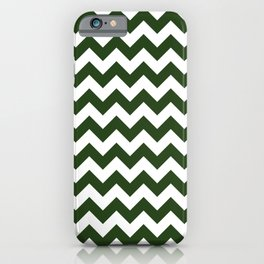 Large Dark Forest Green and White Chevron Stripe Pattern iPhone Case