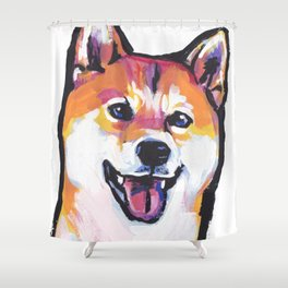 Shiba Inu Fun Dog Portrait bright colorful Pop Art Paintng by LEA Shower Curtain
