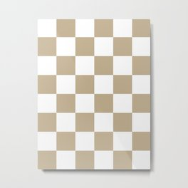 Large Checkered - White and Khaki Brown Metal Print
