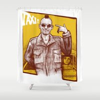 taxi driver Shower Curtains featuring Taxi! by Thiago García