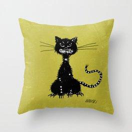 Ragged Evil Black Cat Throw Pillow