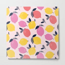 Kitschy Colorful Citrus Pattern Metal Print